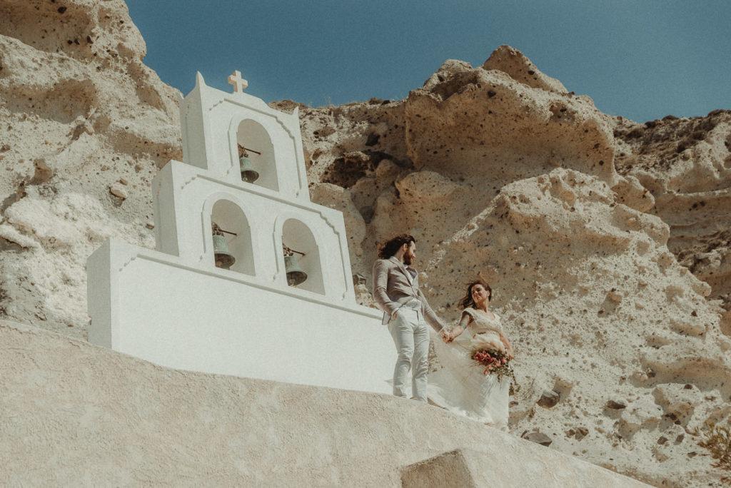 Santorini Wedding Videographer filming a Wedding in Agios Nikolas Megalochori
