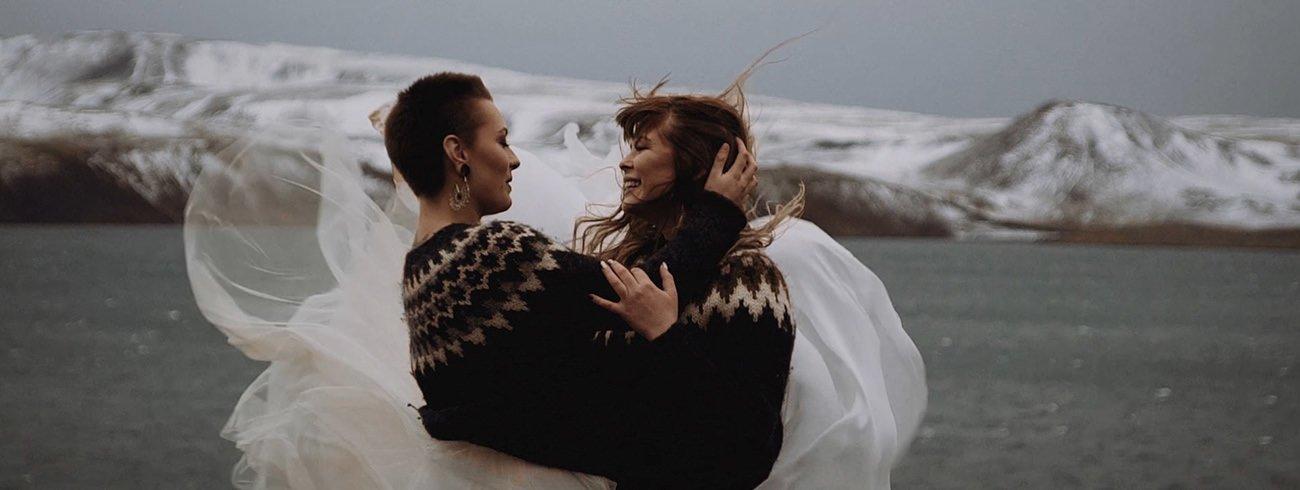 Destination Wedding Filmmaker shooting a LGBT Same Sex Elopement in Iceland