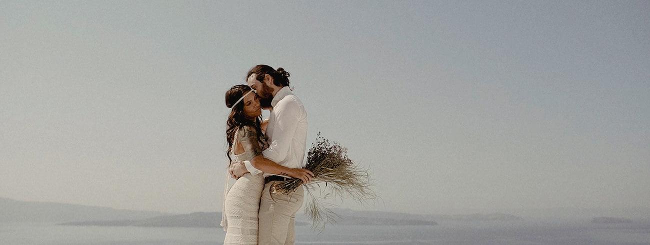 Destination Wedding Filmmaker shooting an Elopement in Santorini