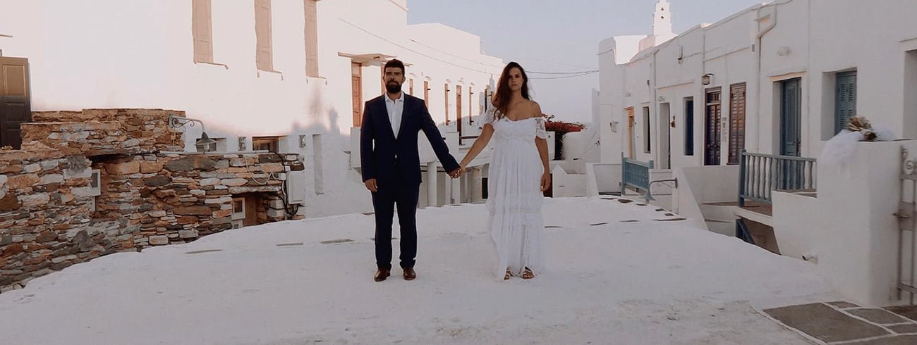 Destination Wedding Filmmaker shooting a Wedding in Sifnos