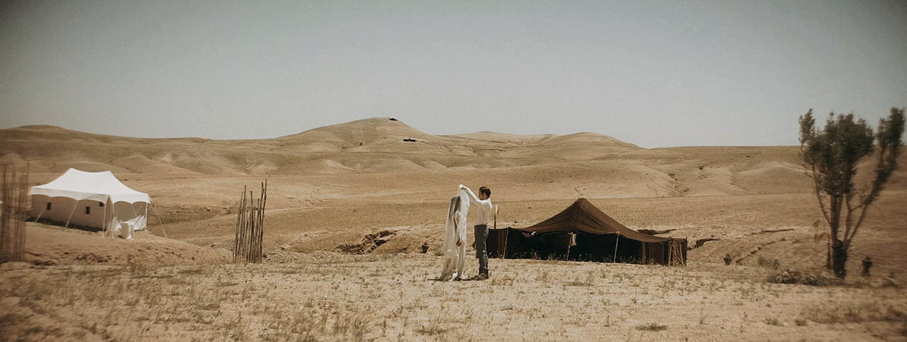 Morocco Wedding videographer filming elopement in the desert