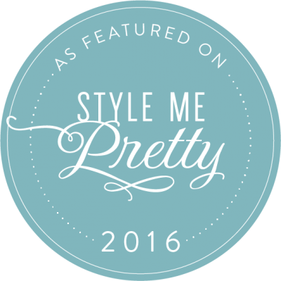 Badge for being listed on Style me Pretty as a Destination Wedding Videographer in 2016