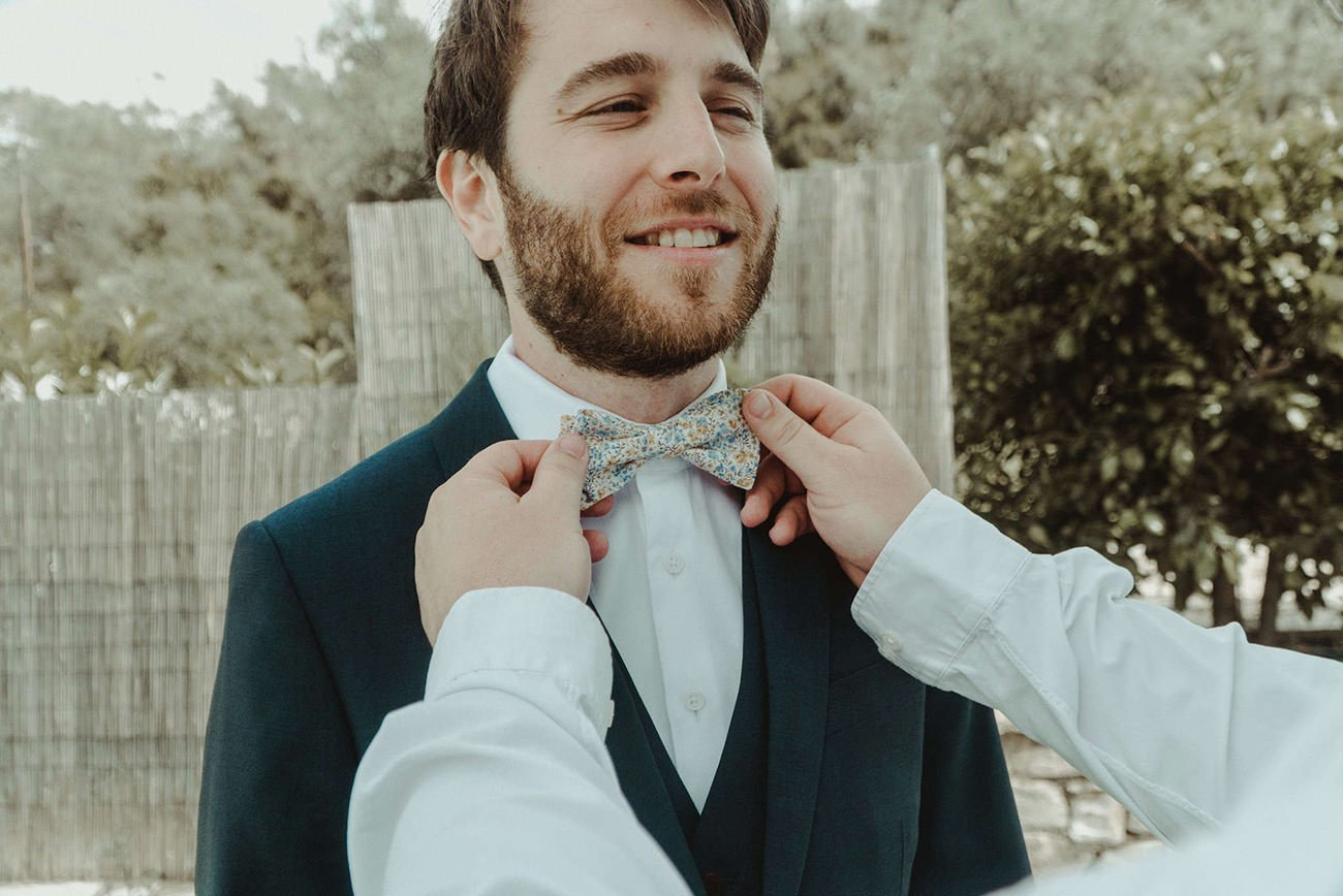 Lebanese destination Wedding in Paxos groom's preparations filmed by Paxos Wedding Videographer