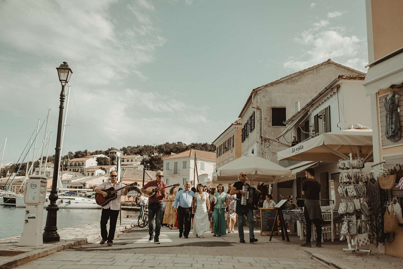 Lebanese destination Wedding in Paxos the bride's family going to the church