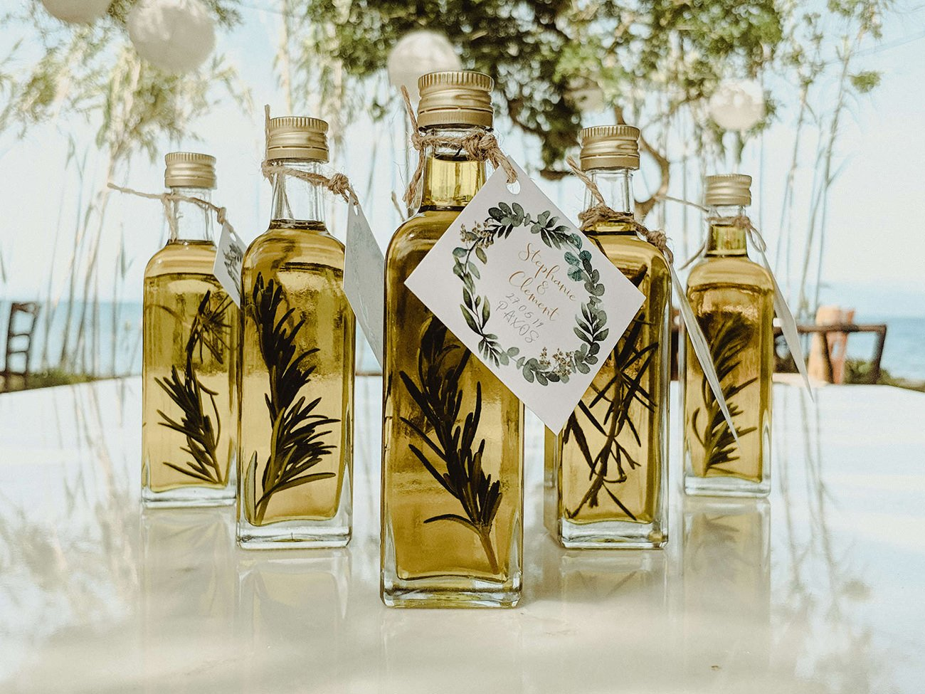 Traditional olive oil wedding favors in Paxos