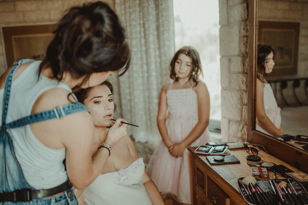 Bride getting ready for a wedding in Lefkada