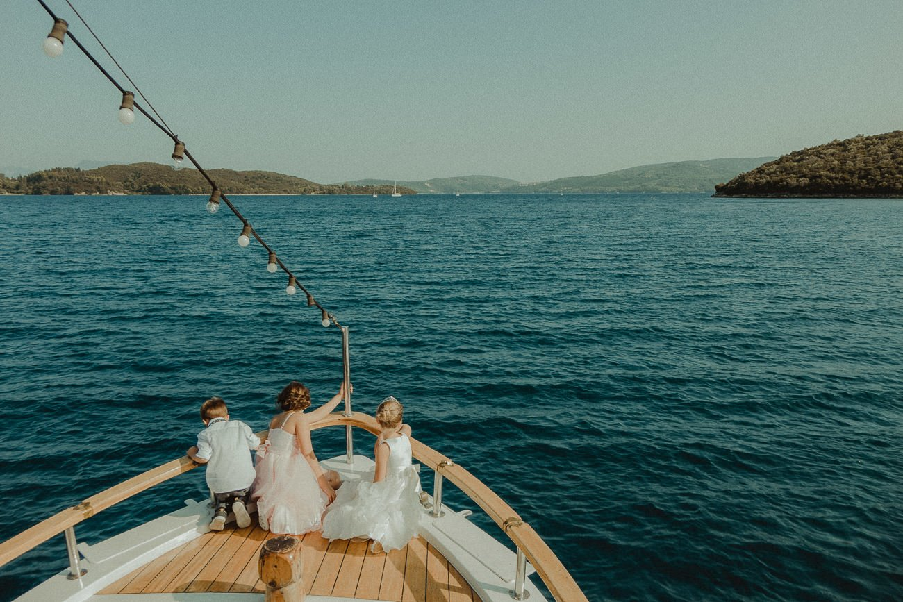 Sailing in turqoise waters in Lefkada after the wedding