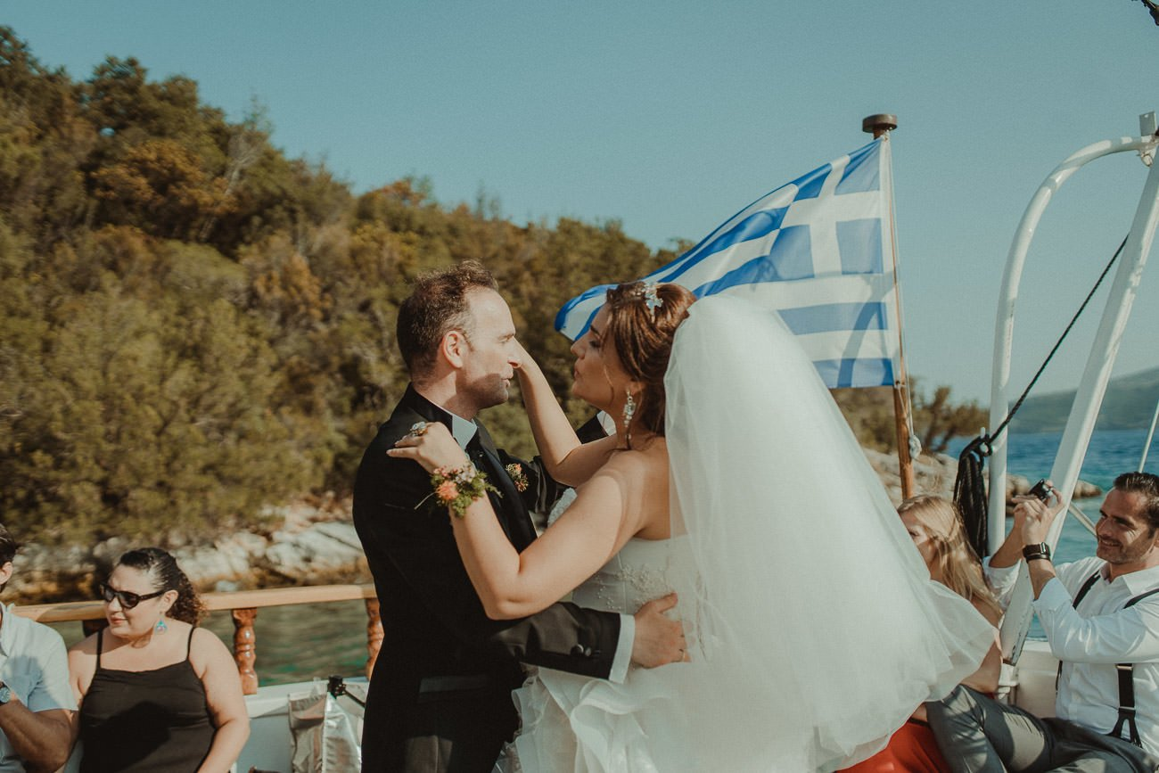 Lefkada wedding videographer filming couple dancing