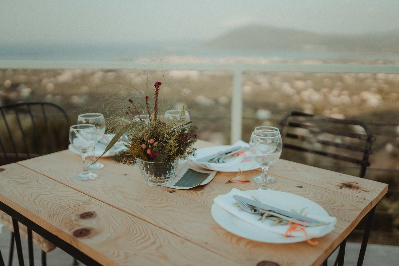 Lefkada wedding reception table setup
