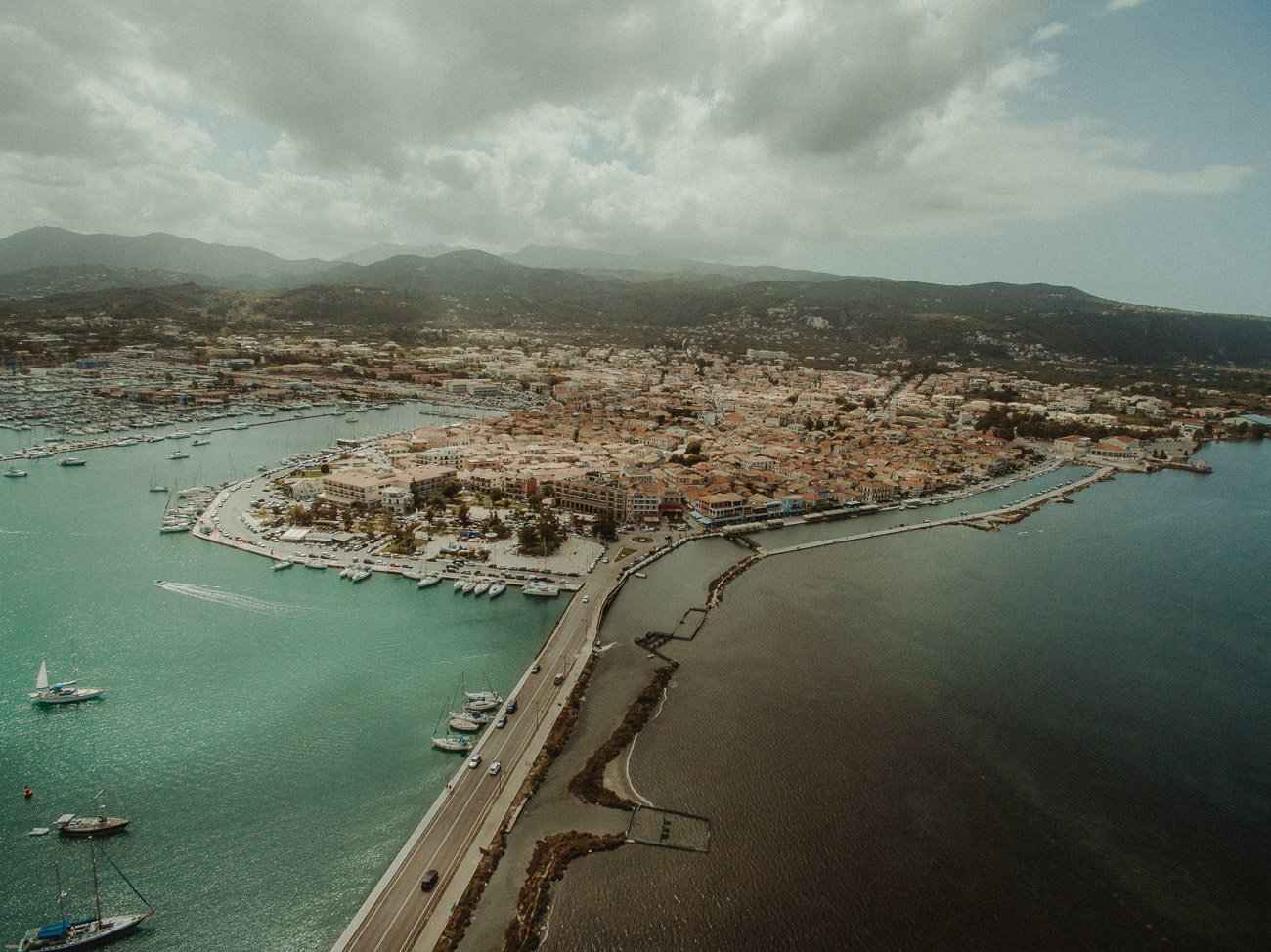 Lefkada wedding videographer filming aerial view of the city