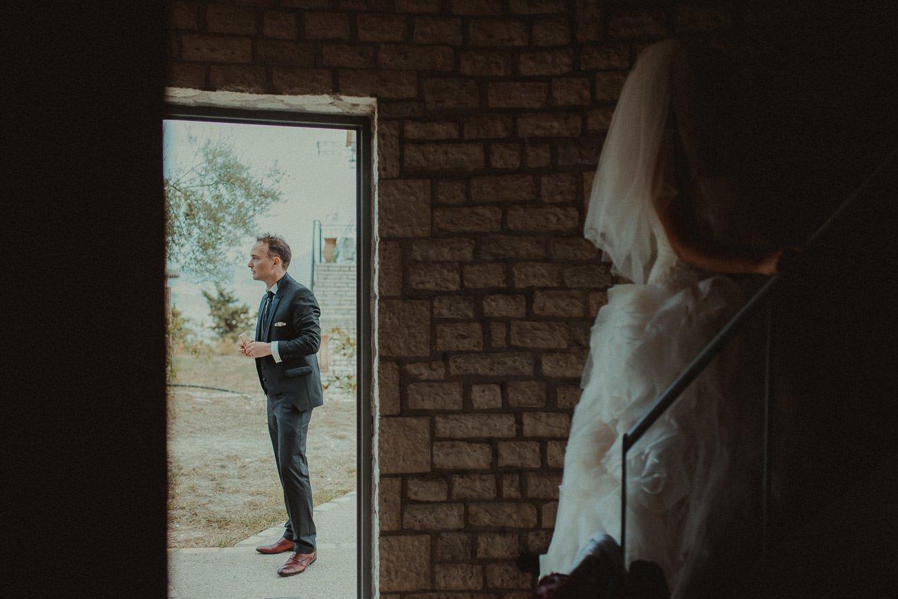 Lefkada wedding videographer filming couple getting ready