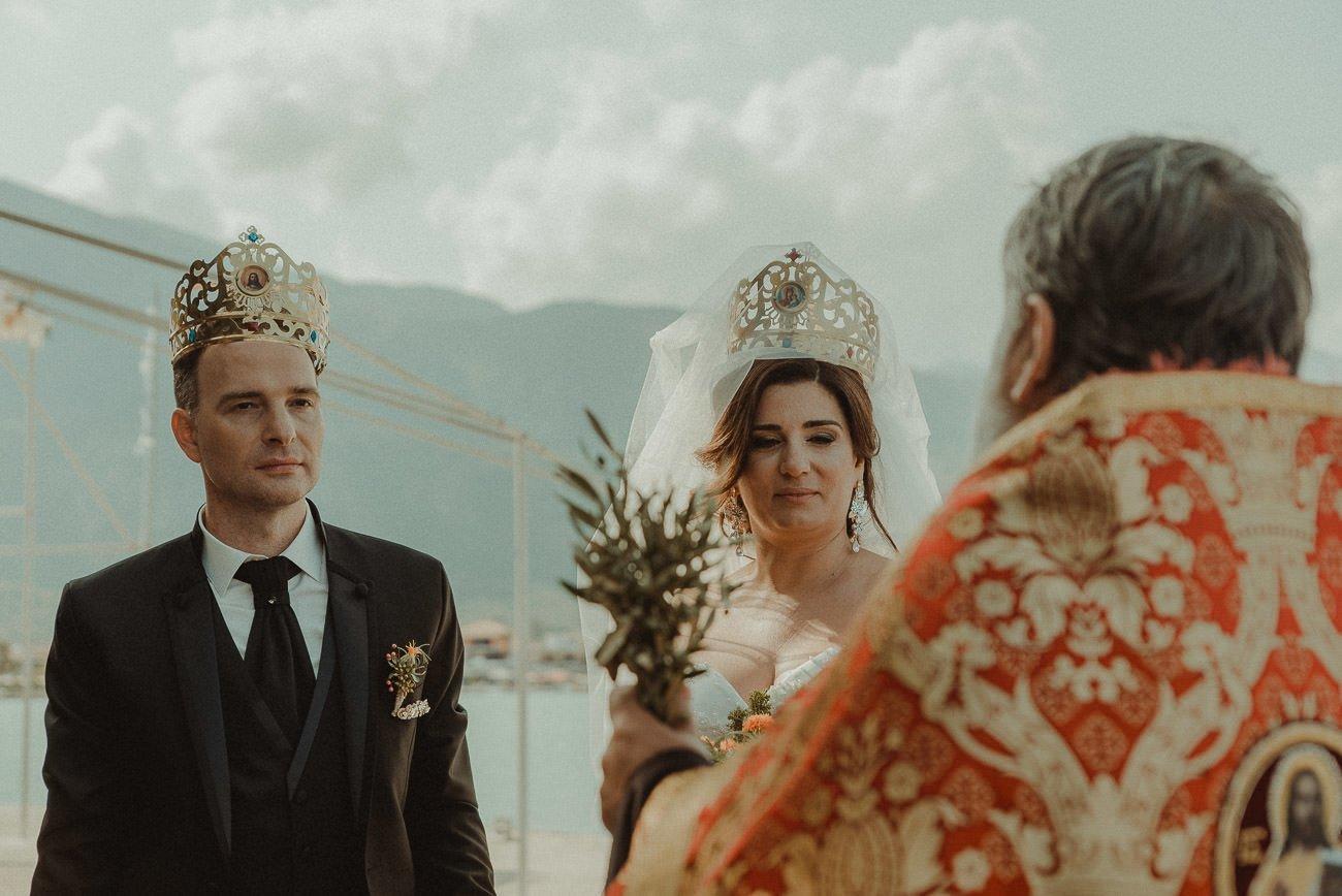 Lefkada wedding videographer filming outdoors bulgarian ceremony