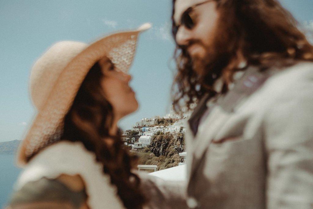 Santorini Wedding videographer filming an Elopement