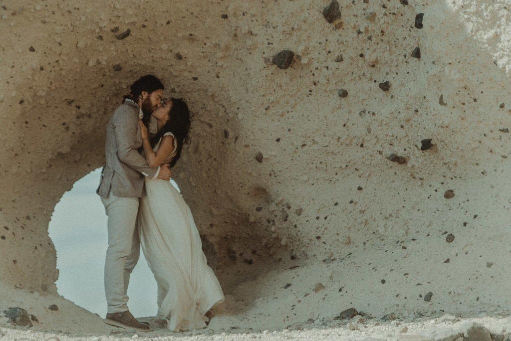 Santorini wedding videographer filming Santorini Elopement