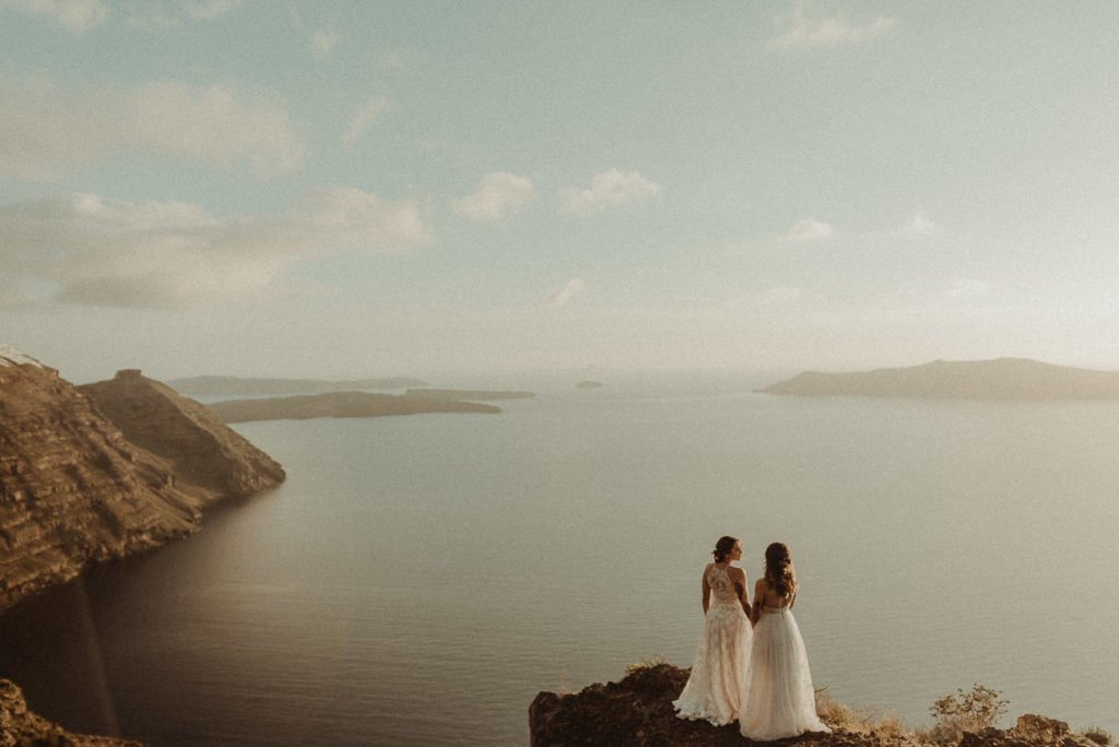Two brides Same-sex LGBT elopement in the Caldera Santorini