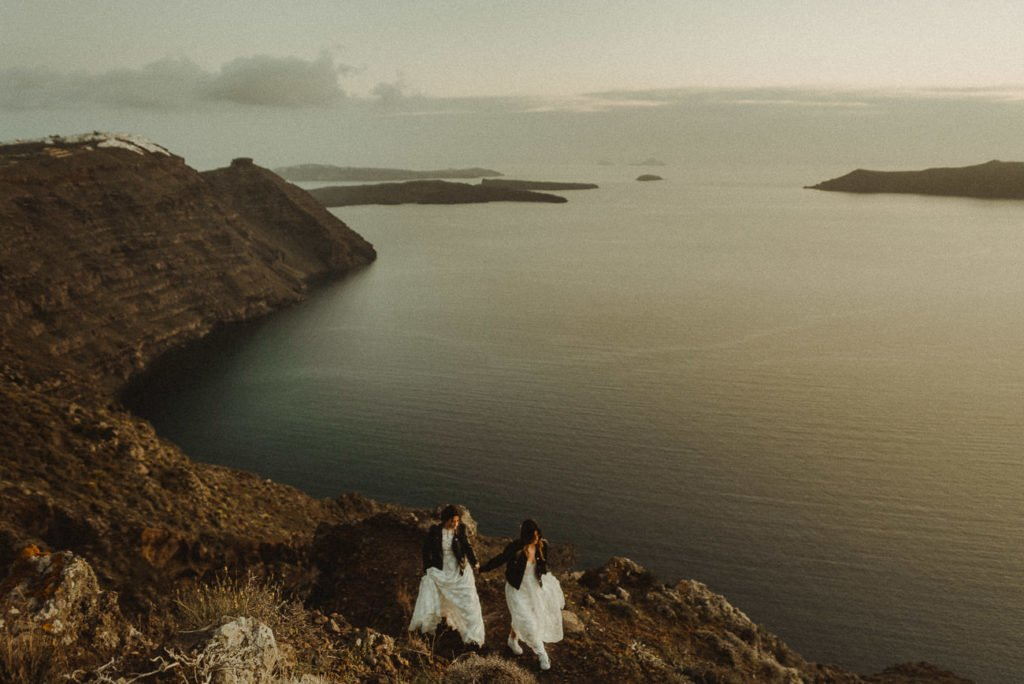 Two brides Same-sex LGBTQ wedding in the Caldera Santorini