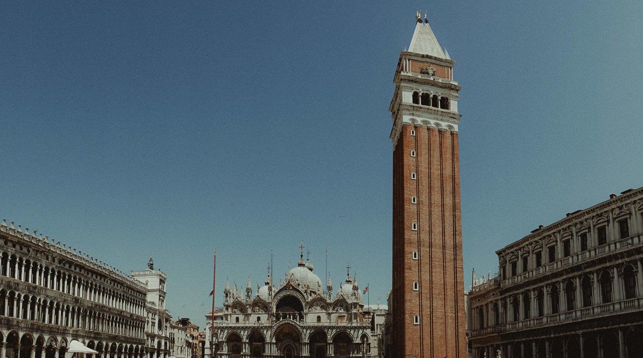 Venice wedding videographer filming San Marco