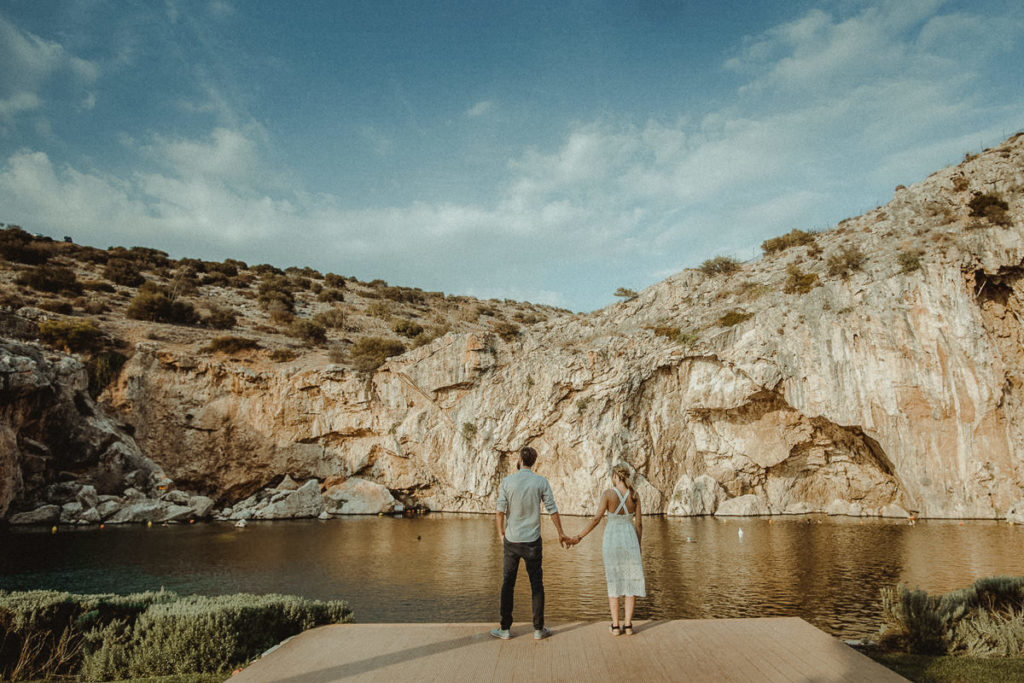 Athens Riviera Wedding Videographer filming prewedding in Lake Vouliagmeni