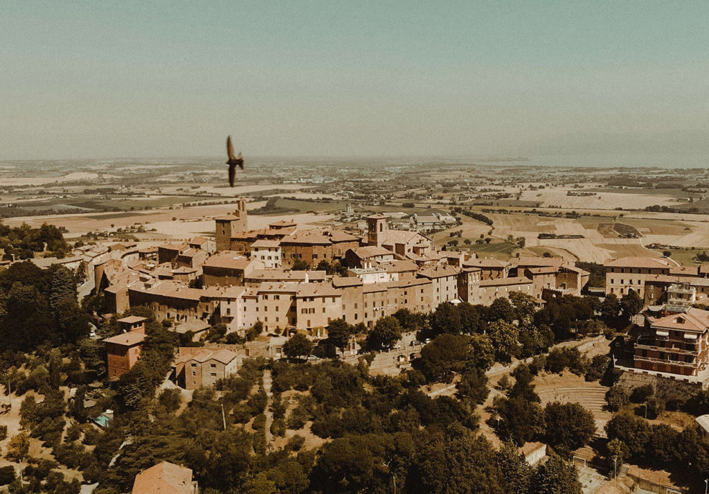 Umbria destination wedding breathtaking aerial view of Panicale