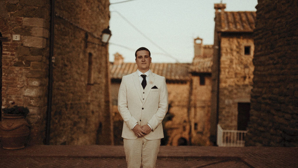 Best Umbria wedding videographer filming a destination wedding in Italy: Groom from New Zealand waiting for the bride