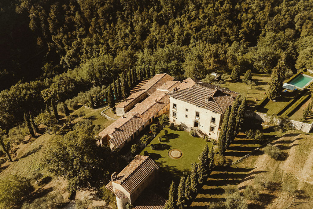 Aerial view of Villa Catureglio in Tuscany Italy