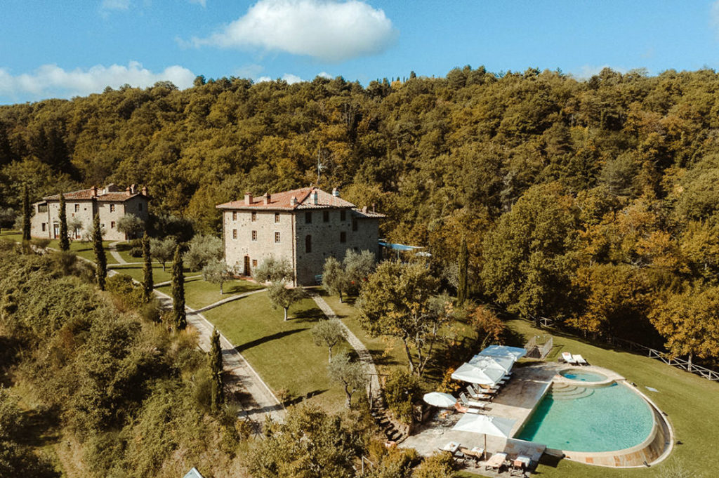 Aerial view of Villa i Corbezzoli in Tuscany