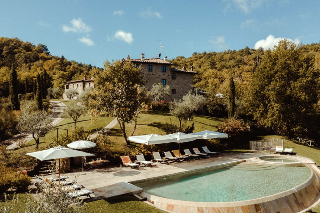 View of Villa i Corbezzoli near Chianti in Tuscany