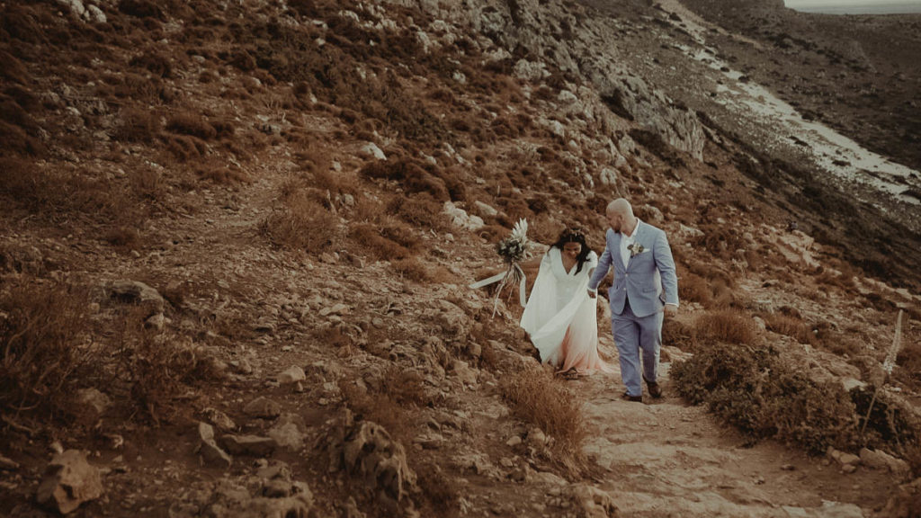 Hiking to elope in Balos Lagoon