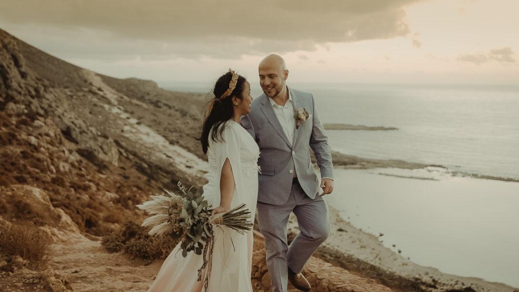 Crete Wedding Videographer filming a destination wedding in Balos lagoon in Crete