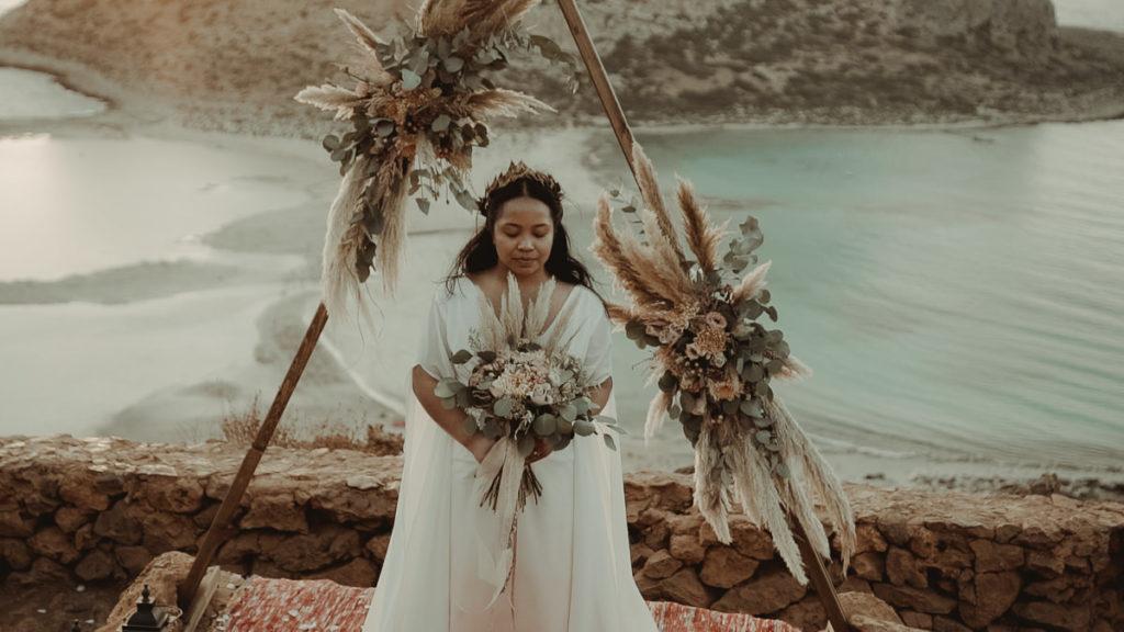 Crete Wedding Videographer filming a destination wedding in Balos lagoon