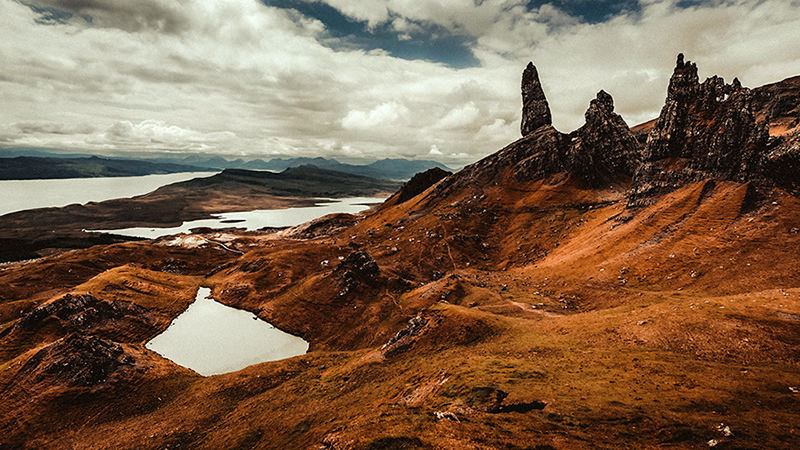 Best Isle of Skye Wedding Videographer filming Old Man of Storr