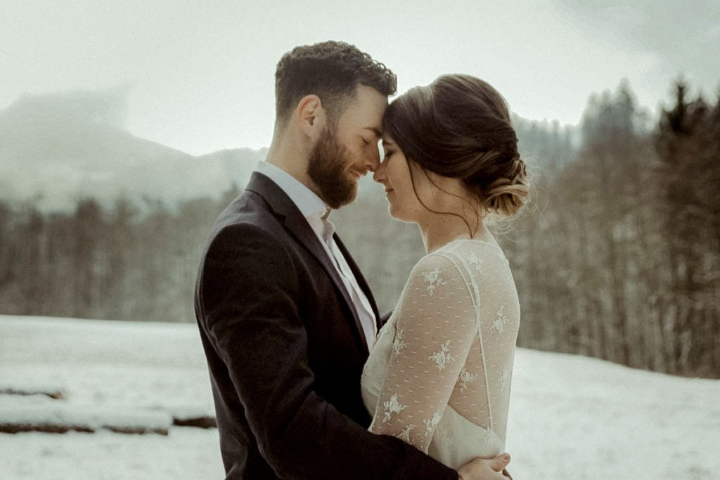 Winter elopement in the Austrian alps Alpbach