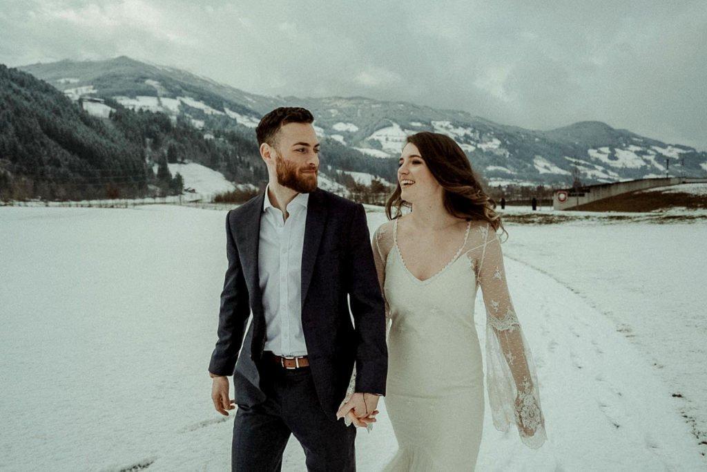 Winter elopement in the Austrian alps Zillertal