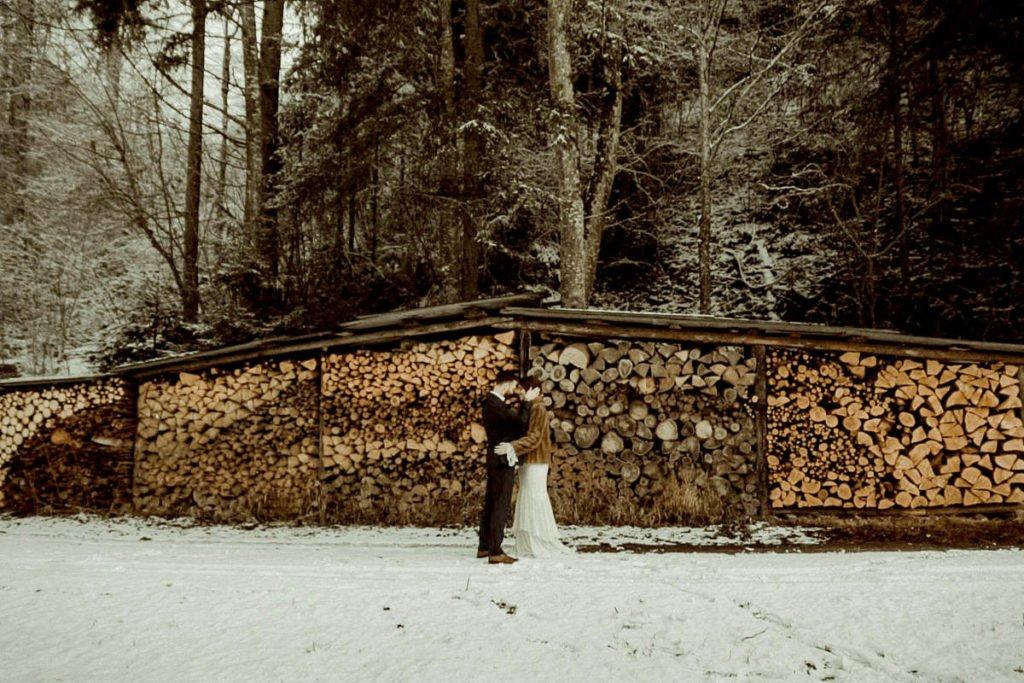 Austrian Alps wedding videographer filming winter elopement in Tirol