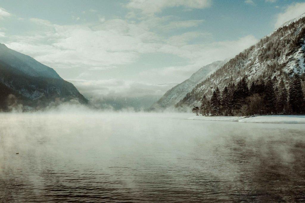 Winter landscape of lake Achensee elopement video