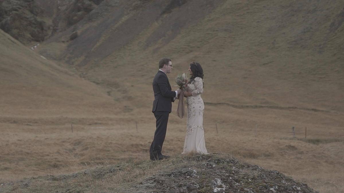 Couple in Iceland picture before applying the video color grading LUTs