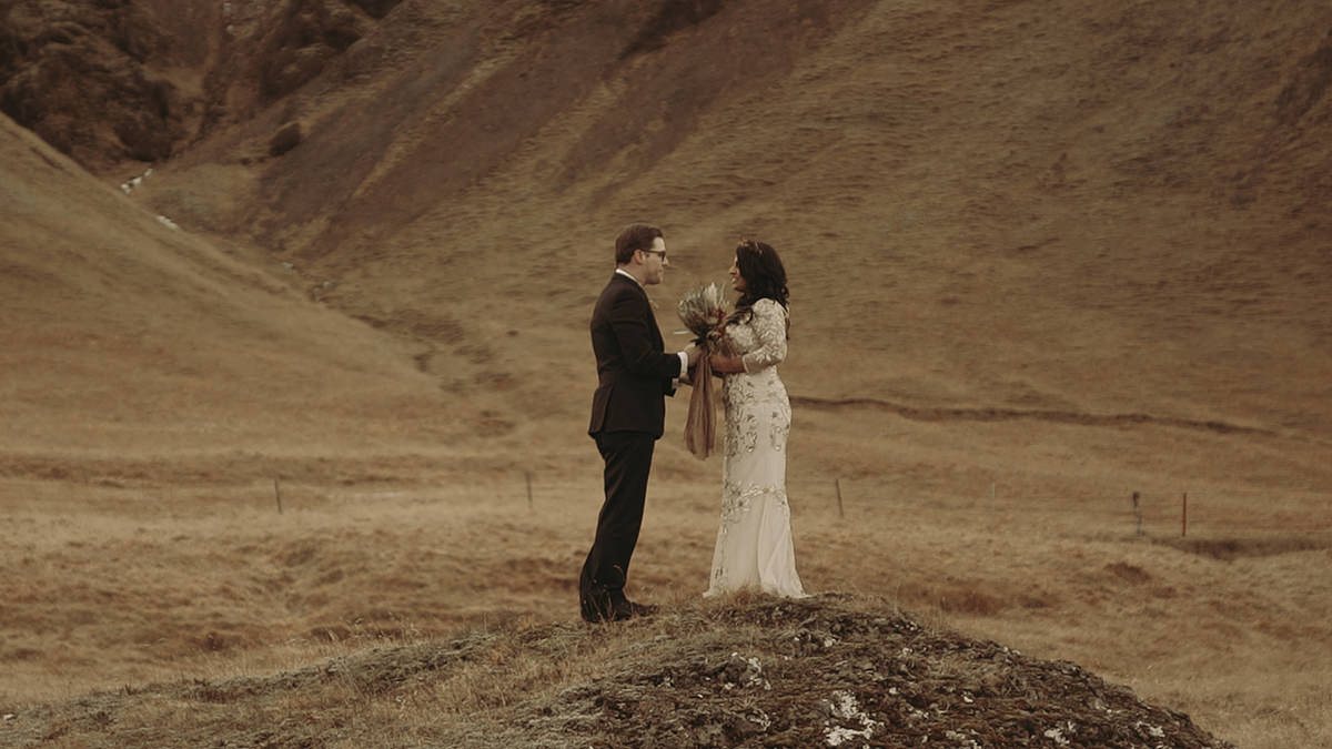 Couple in Iceland picture after applying the video color grading LUTs