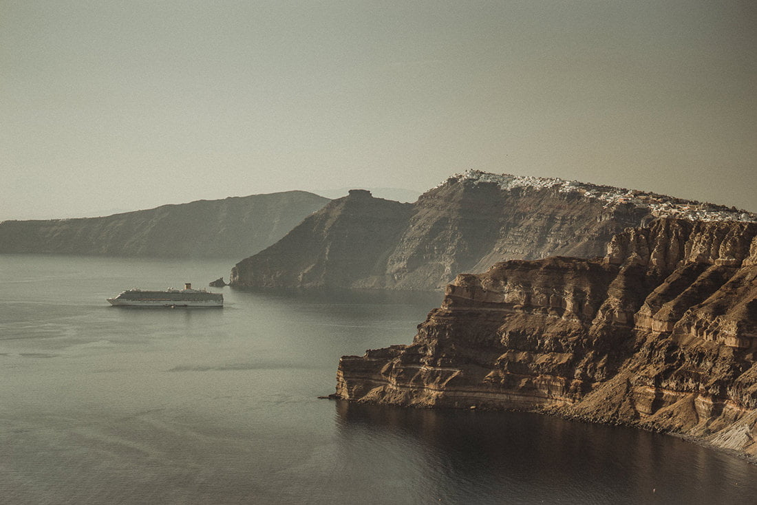 Stunning view of the Caldera in Santorini one of the best places in the world to get married