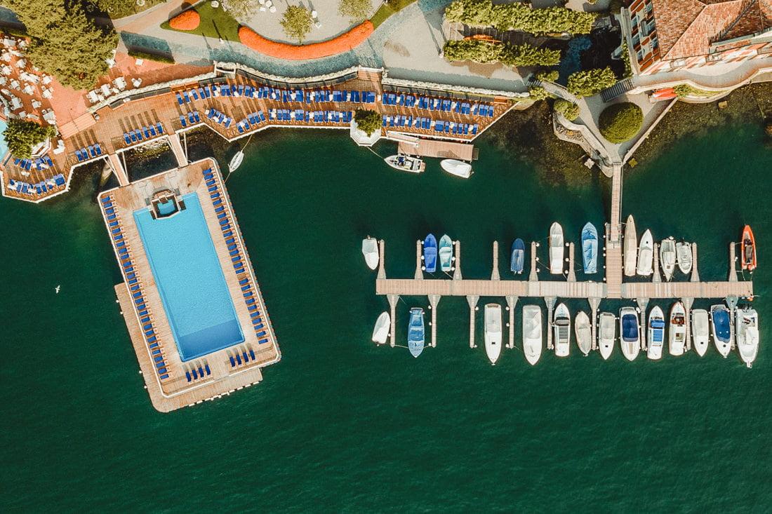 Best Wedding Venues in Cernobbio Aerial view of the pool in Villa d'Este
