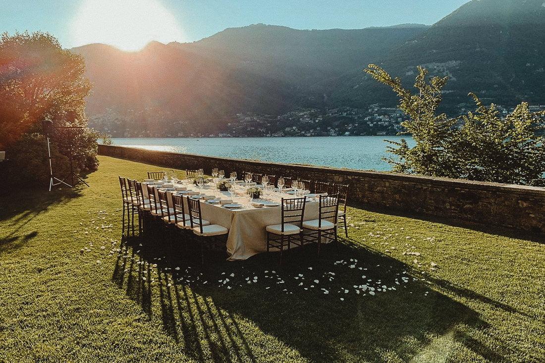 Reception table at the Wedding Venue Villa Pliniana