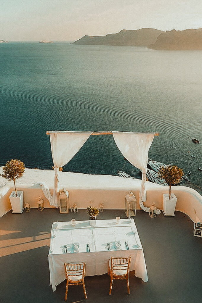 Table for two in Canaves Oia one of the best places to get married in Santorini Oia