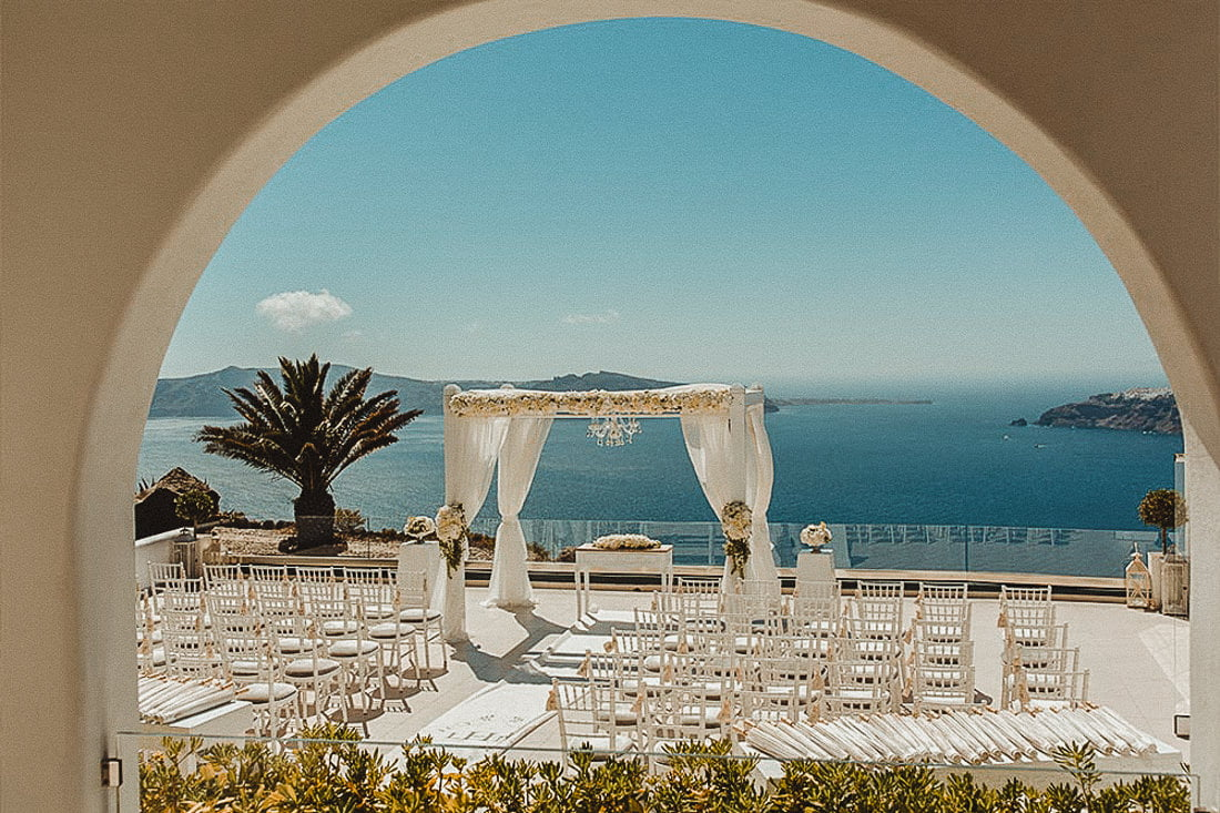 Outdoors Wedding Ceremony Setup in Le Ciel Santorini one of the best places to get married in Santorini Imerovigli