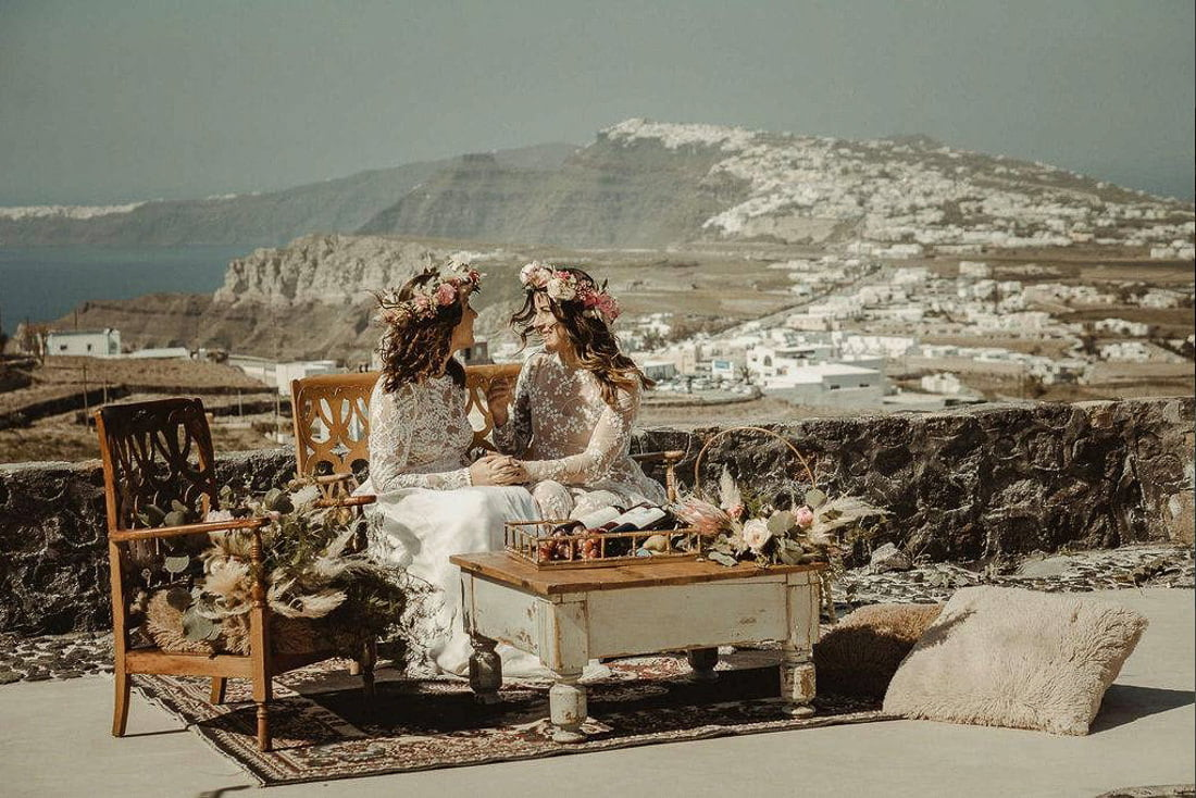 Vow renewal in Sant Antonio Vineyard, one of the best places to get married in Santorini Pyrgos