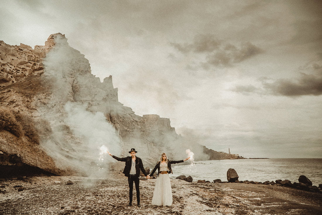 Adventure elopement in Theros Wave Bar one of the Best places to get married in Santorini Vlychada
