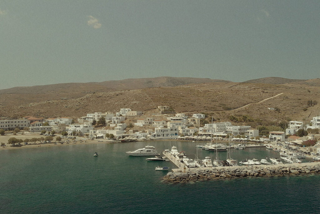 Aerial view of Loutra Kythnos before a wedding