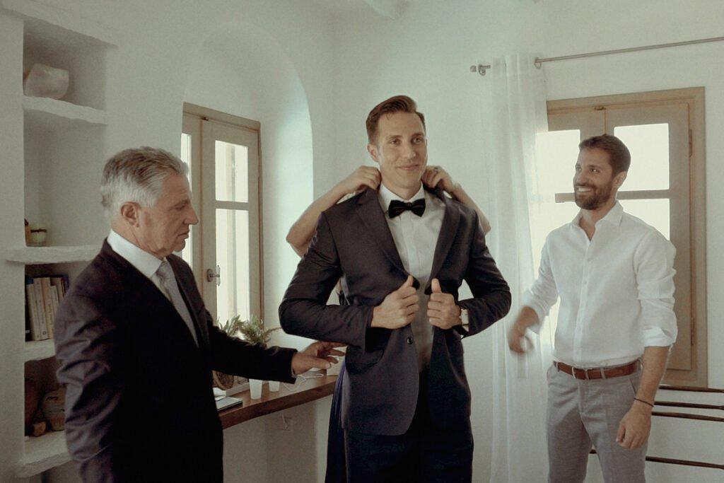 groom preps in private Villa Kythnos