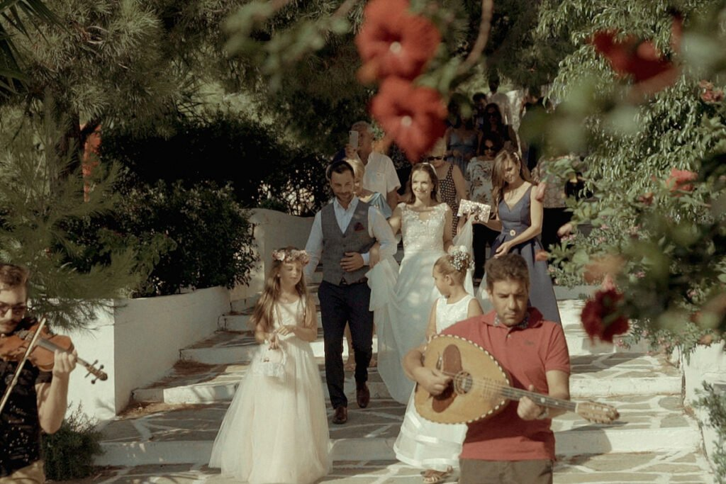 Here comes the bride with traditional instruments from Kythnos
