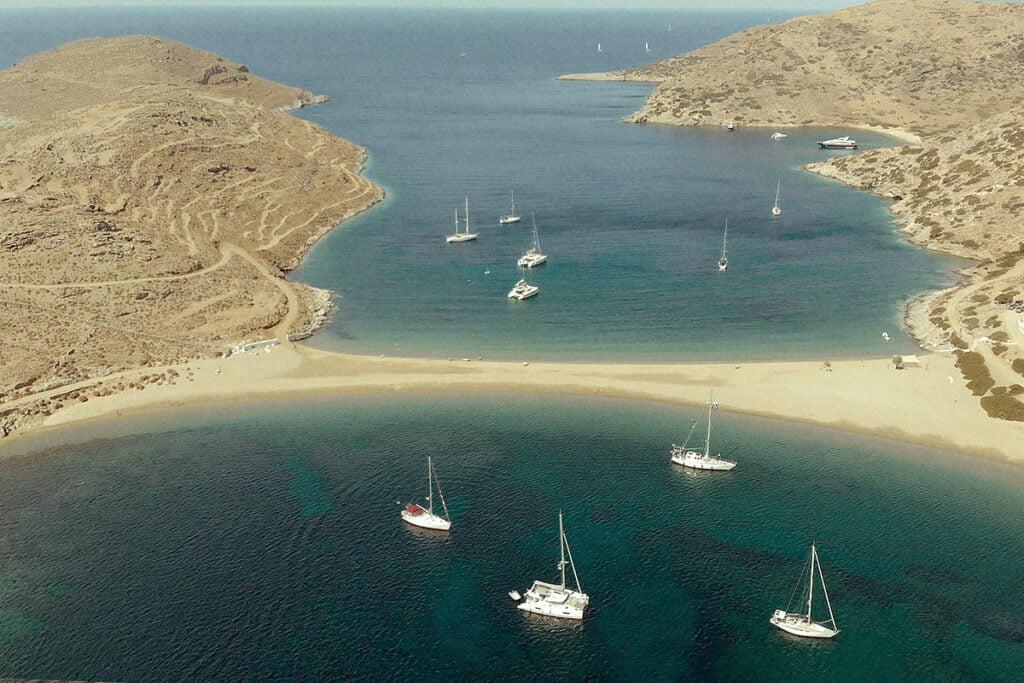 Aerial view of Kolona beach in Kythnos