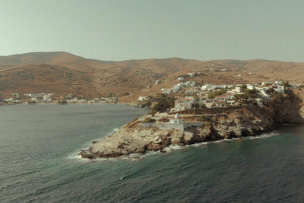 Aerial view of Kythnos Aghia Kalliopi church in the village of Kanala