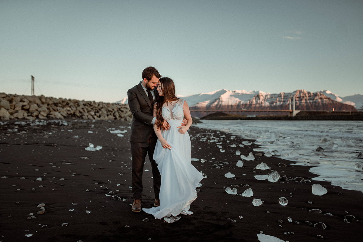 Lightroom Presets for Wedding Photographers - after applying poetry presets - elopement in Iceland